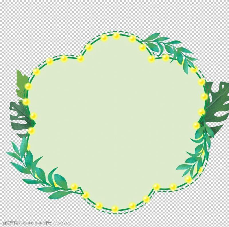北欧简约植物边框图片