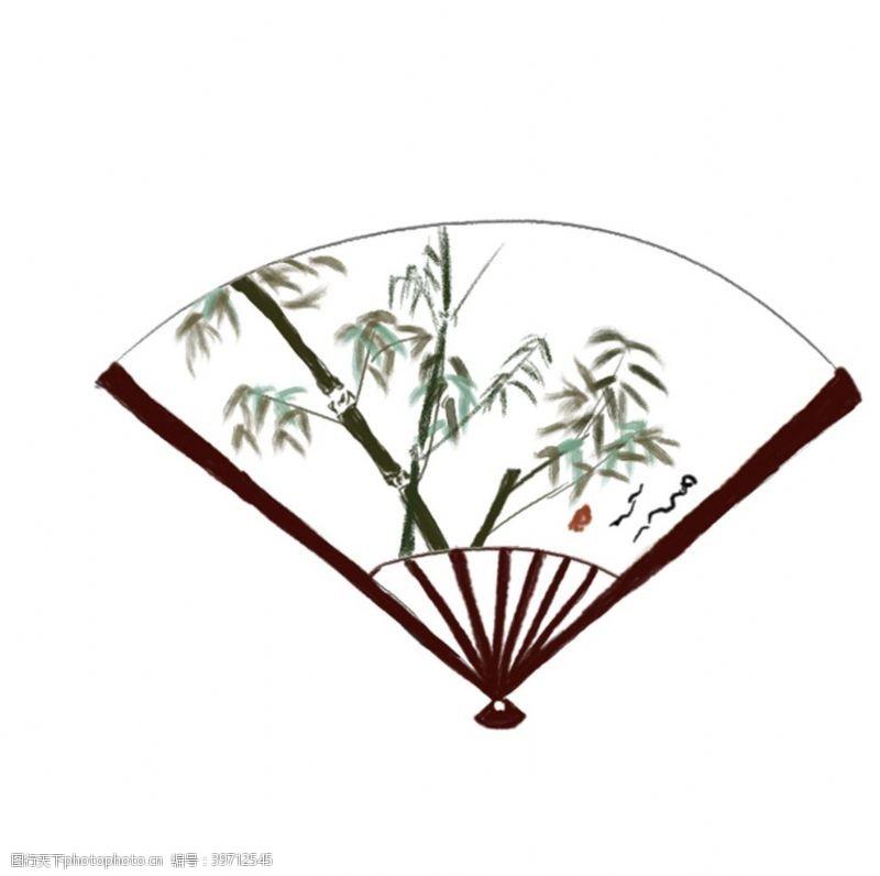 扇子素材古代扇子元素图片