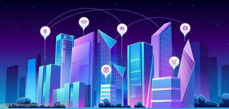 矢量城市矢量夜景建筑图片
