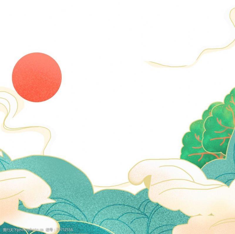 云朵装饰国潮纹理元素图片