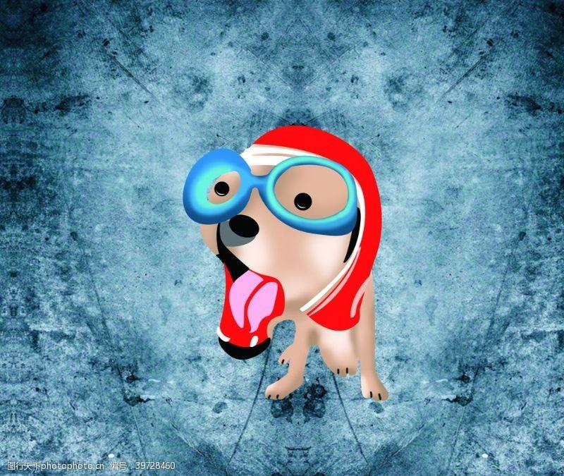 眼镜狗卡通狗图片