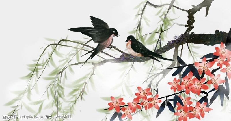 燕子树枝春意复古背景海报素材图片