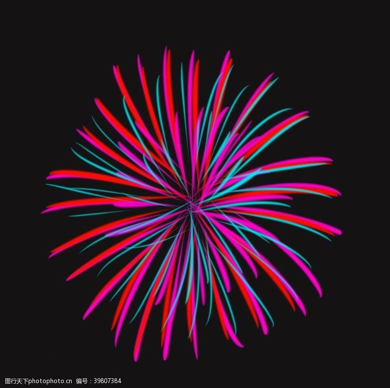 彩色烟花卡通烟花图片