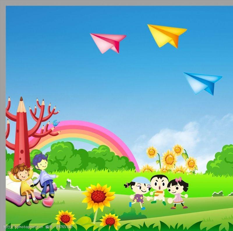 可爱卡通背景卡通幼儿园展板图片