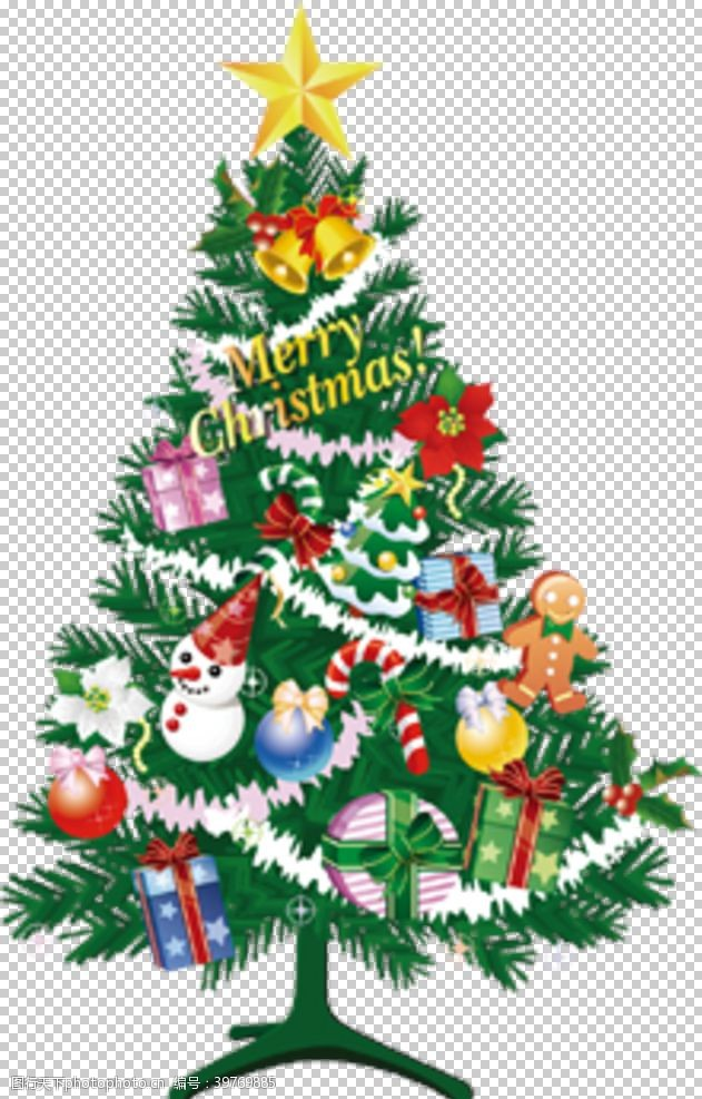圣诞星星圣诞树png素材图片