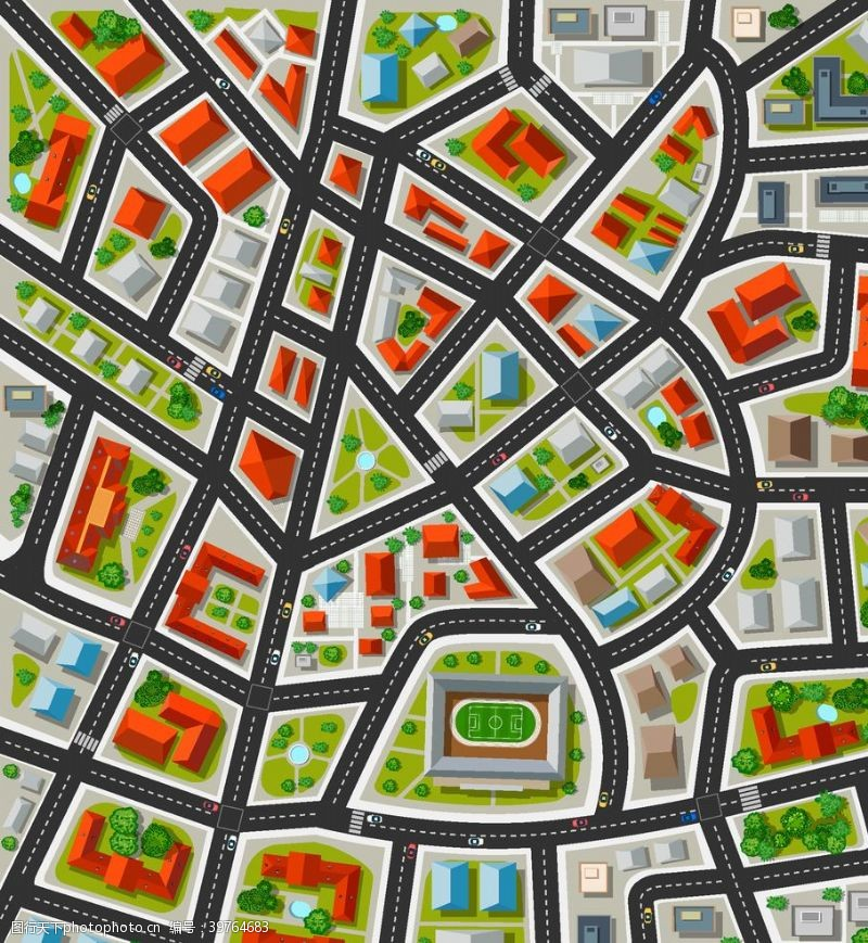 矢量城市城市交通插画图片