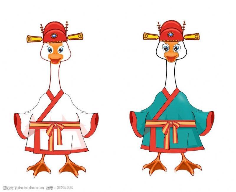 国潮插画手绘动物动漫卡通鹅图片