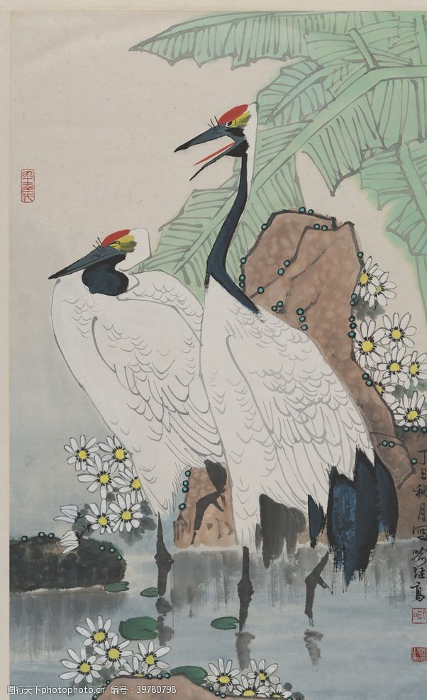 玄关山水花鸟画图片