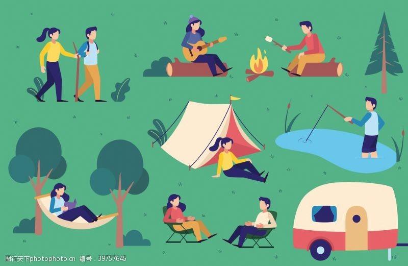 户外野营活动插画设计图片