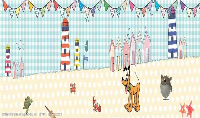 卡通宠物狗旗子背景墙图片