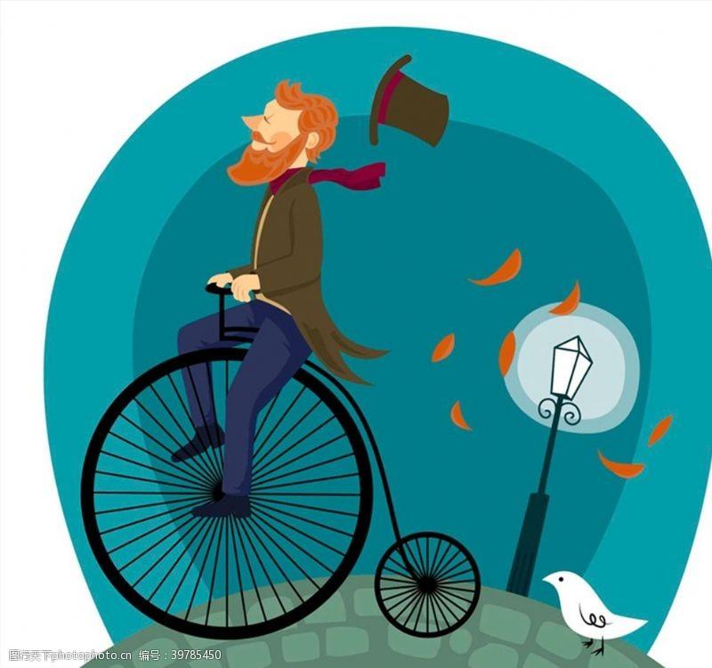 骑自行车的男子图片