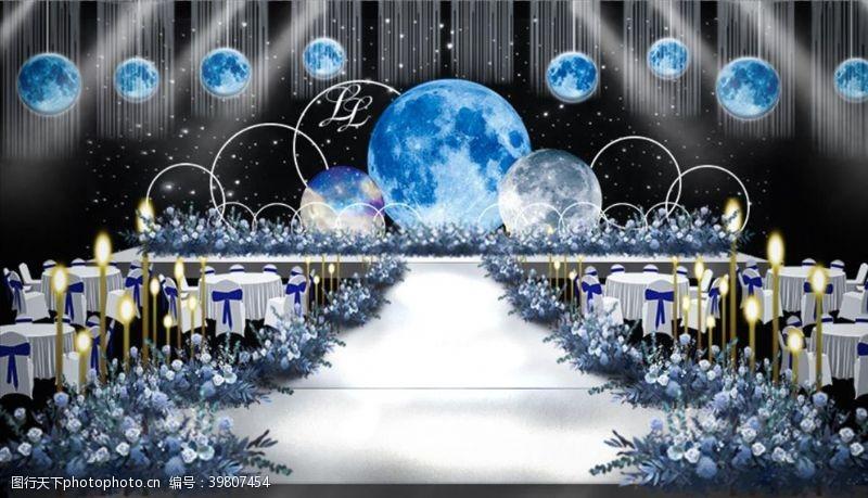 天蓝色星空蓝色吊顶婚礼效果图图片