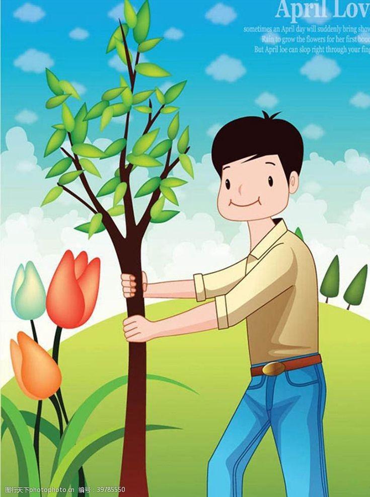 种树的男子图片