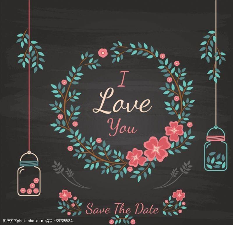 婚礼花卉彩色花环黑板画图片