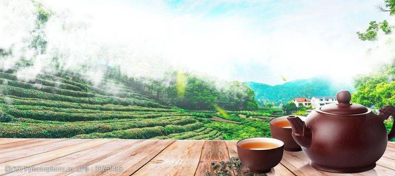 中华茶文化茶道展板背景图片