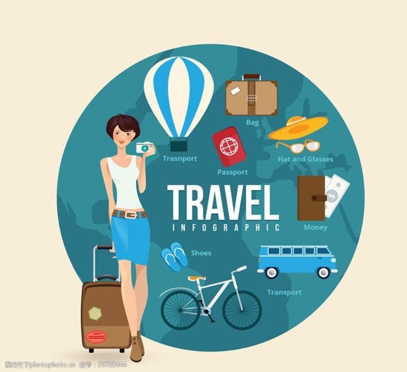 旅行箱环球旅行女郎图片