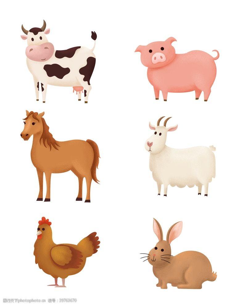卡通牛卡通马卡通羊卡通鸡卡通兔图片