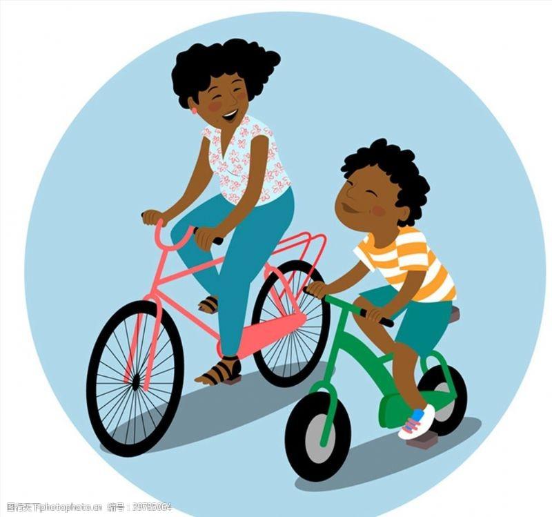 儿子骑单车的母子图片
