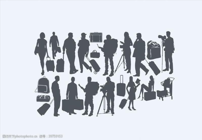旅行箱商务男女剪影图片