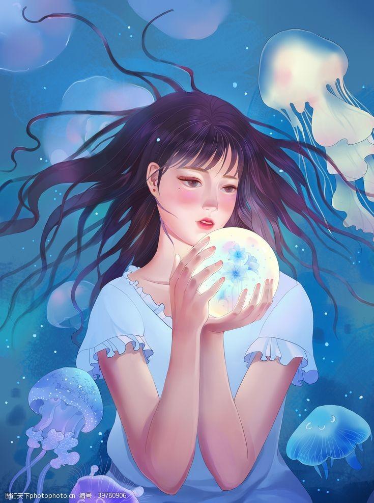 欧洲美女水晶球美女插画图片
