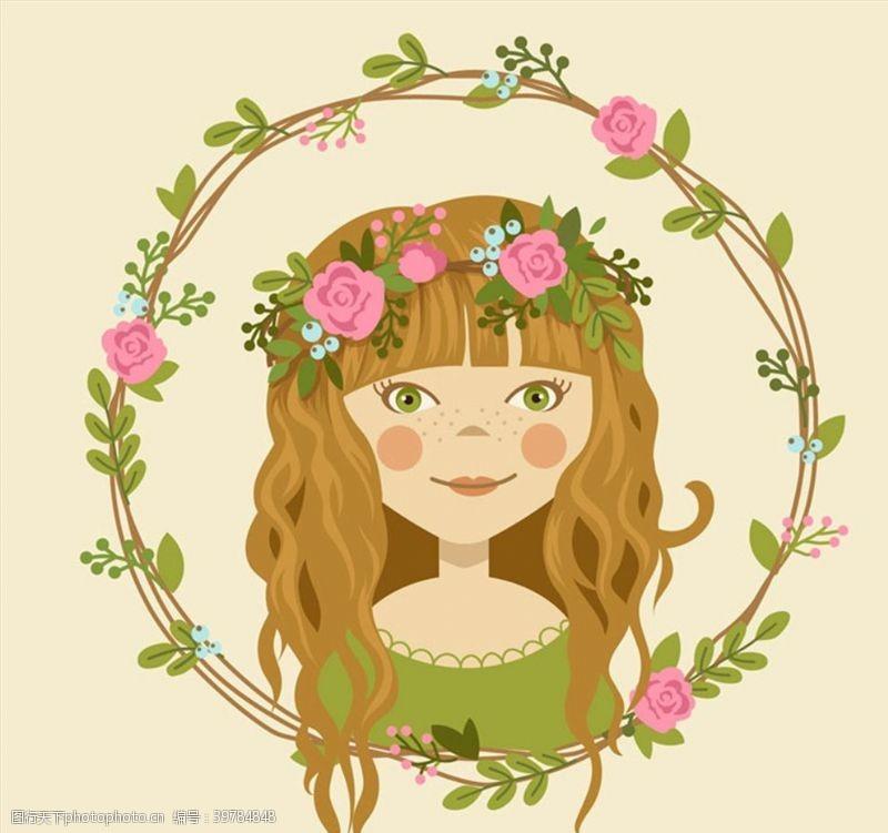 雀斑头戴花环的女孩图片