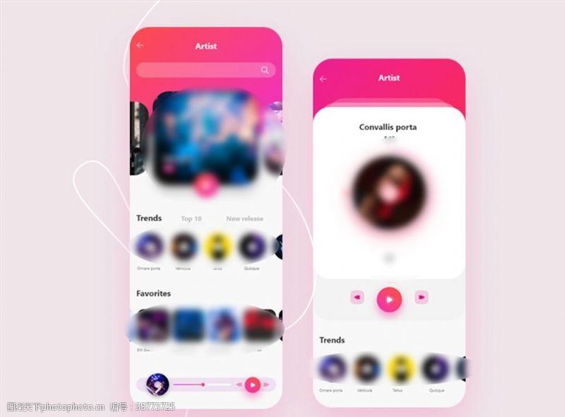 xd音乐红色UI设计首页播放页图片
