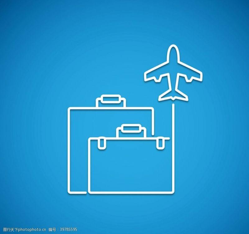 旅行箱行李箱和飞机图片