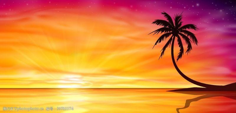 岛屿椰子树沙滩景色图片