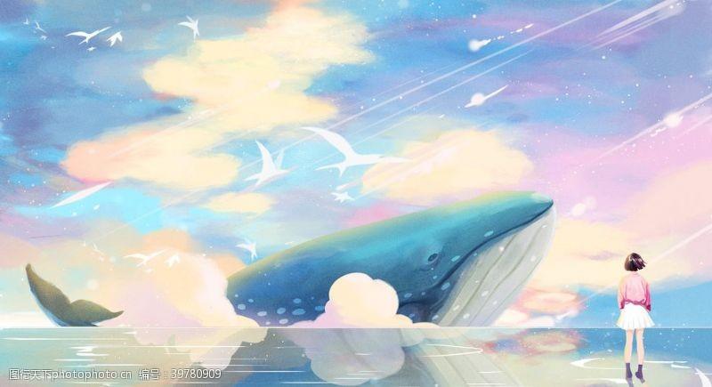 诗治愈系鲸鱼插画图片