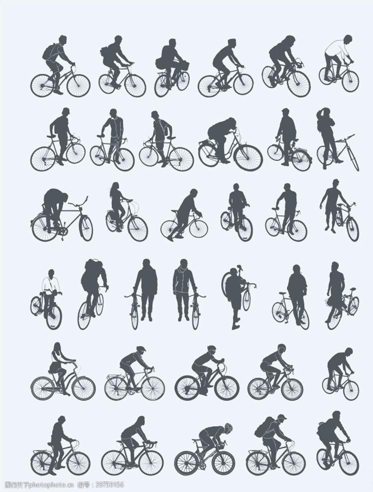 骑自行车自行车剪影图片
