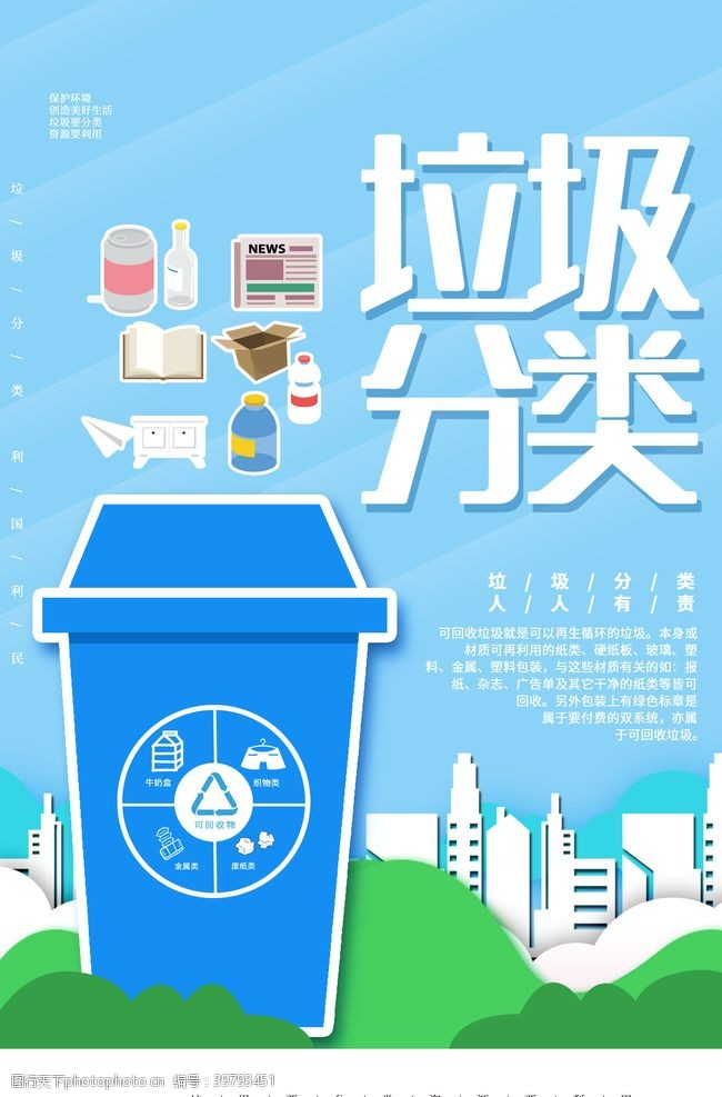 创建卫生城市城市垃圾分类图片
