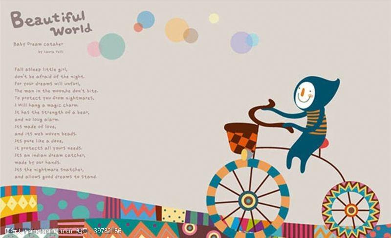 儿童骑车插画图片