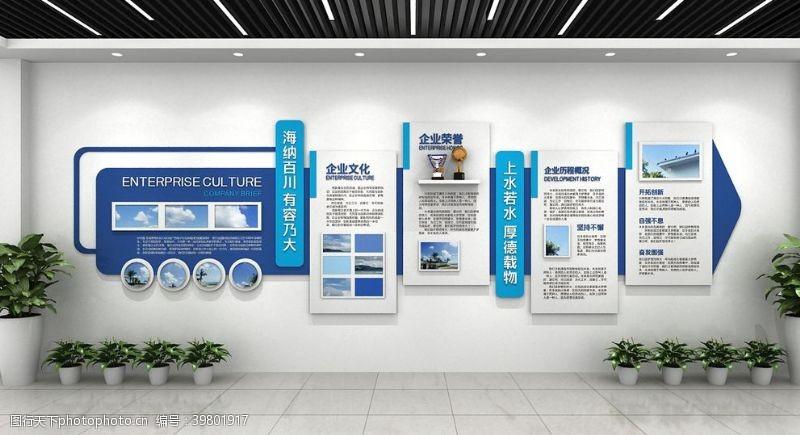 蓝白色调简约企业文化墙图片