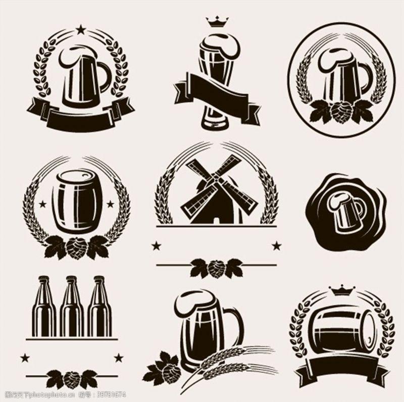 徽标啤酒图标标签图片
