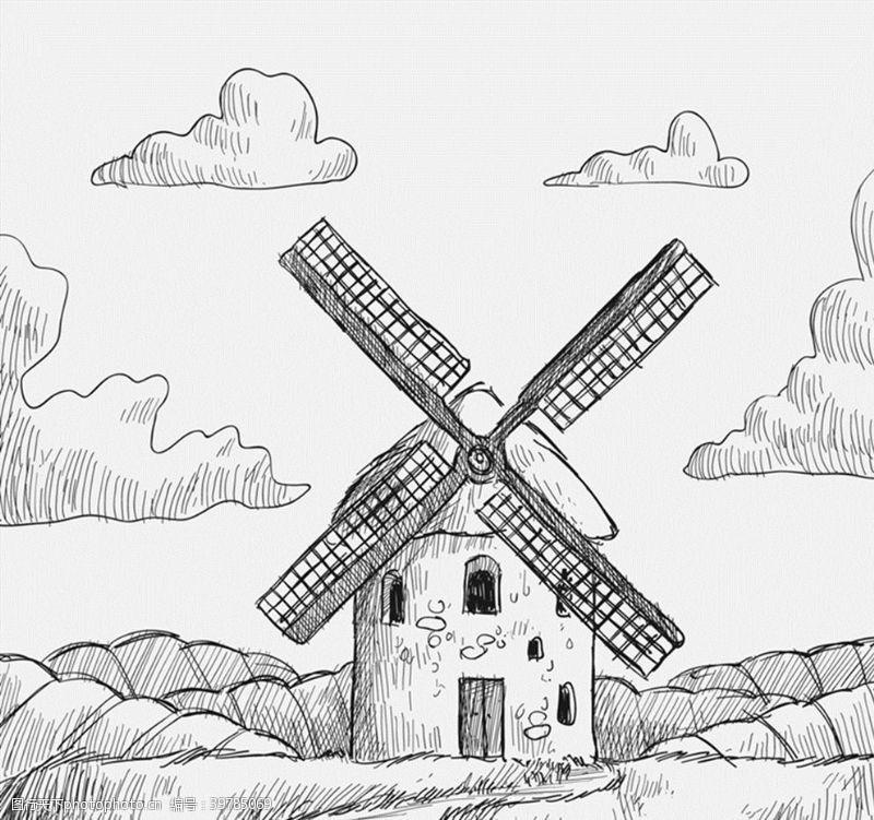 谷物手绘风车磨坊图片