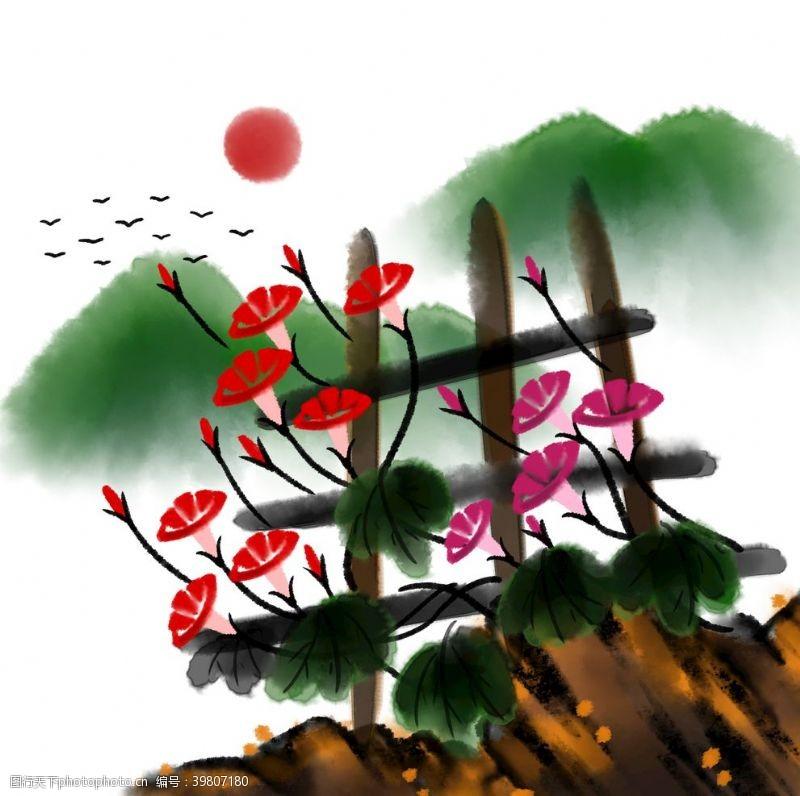 水墨竹子水彩画图片