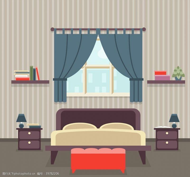 台灯条纹壁纸卧室图片