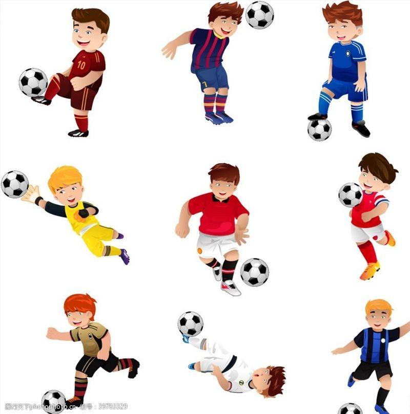 踢球的卡通儿童图片