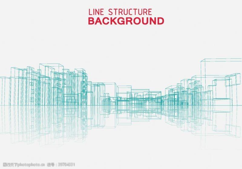 商业金融线描建筑图片
