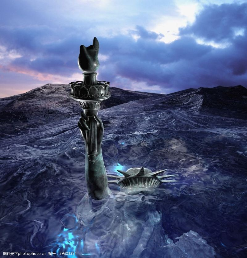 自由女神像水流山石合成背景素材图片
