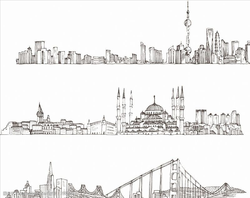 城市剪影城市线条图片