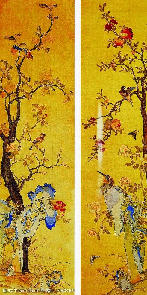 山石工笔画复古传统背景素材图片