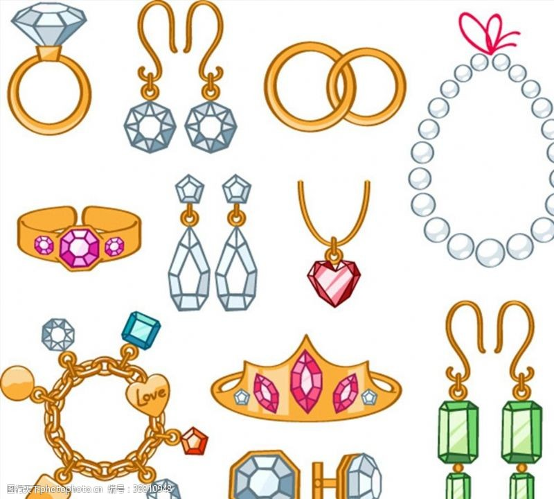 钻石戒指珠宝矢量图片