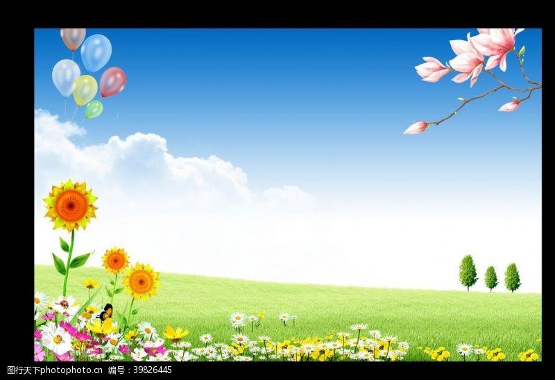 春天的背景春天展板背景图片