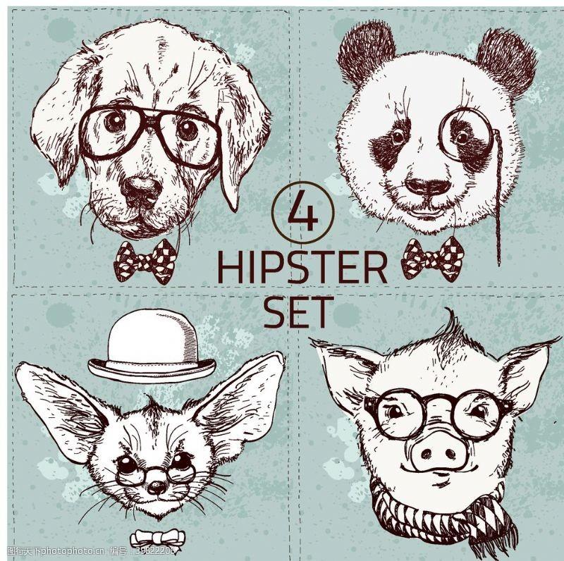 北欧装饰画动物头像图片