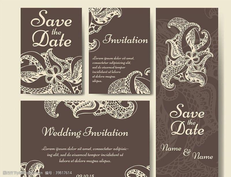 褐色花纹婚礼请贴图片