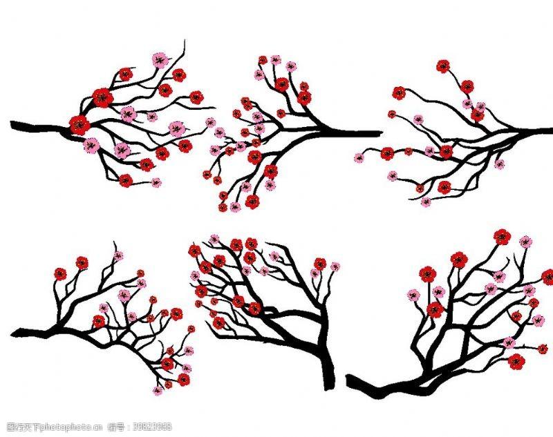 盆栽卡通梅花矢量图图片