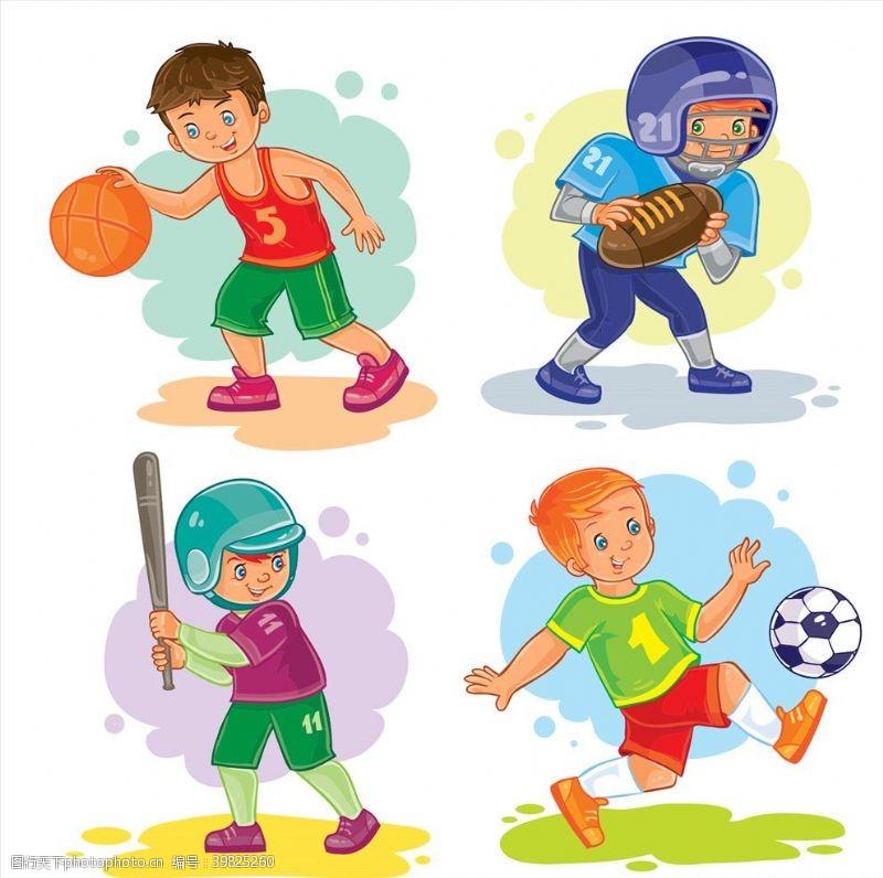 卡通男孩打球图片