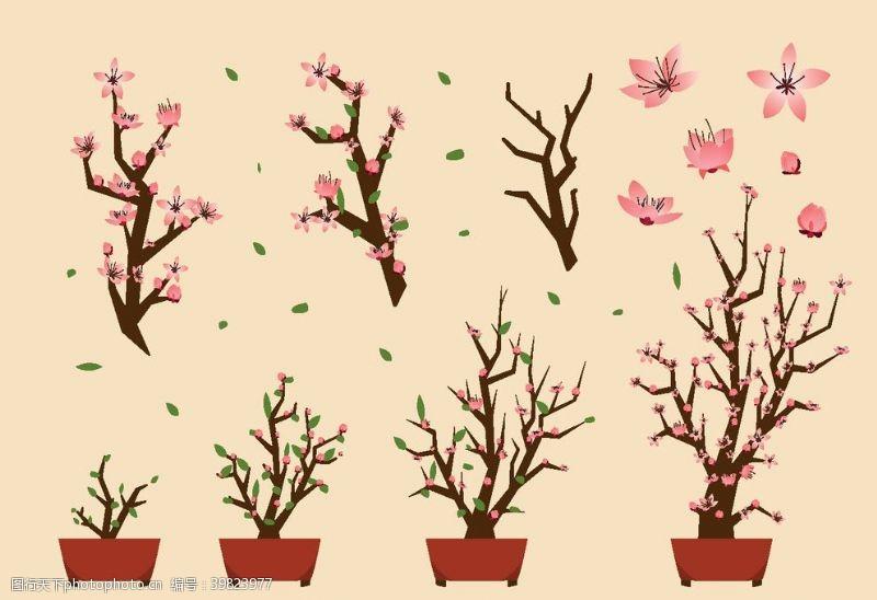 卡通桃花盆栽矢量图图片