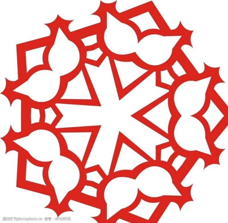 流行时尚六角剪花窗花纸图案背景元素图片